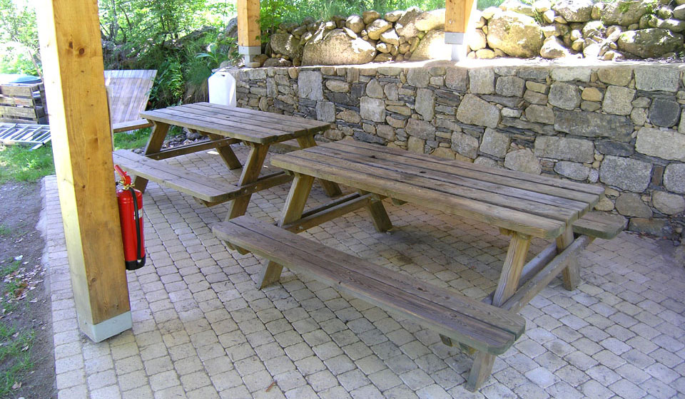 Tables in the picnic shelter for outdoor dining
