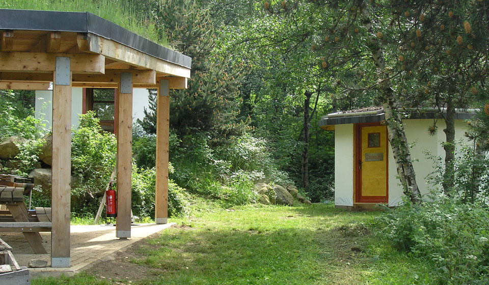the shelter and an eco-yurt
