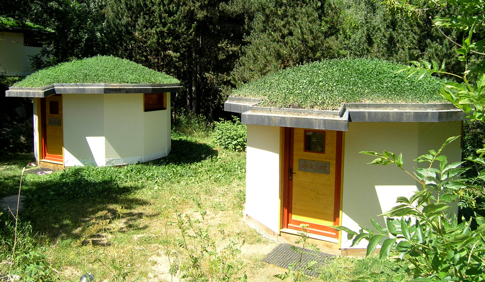 Eco yurts with green roofs