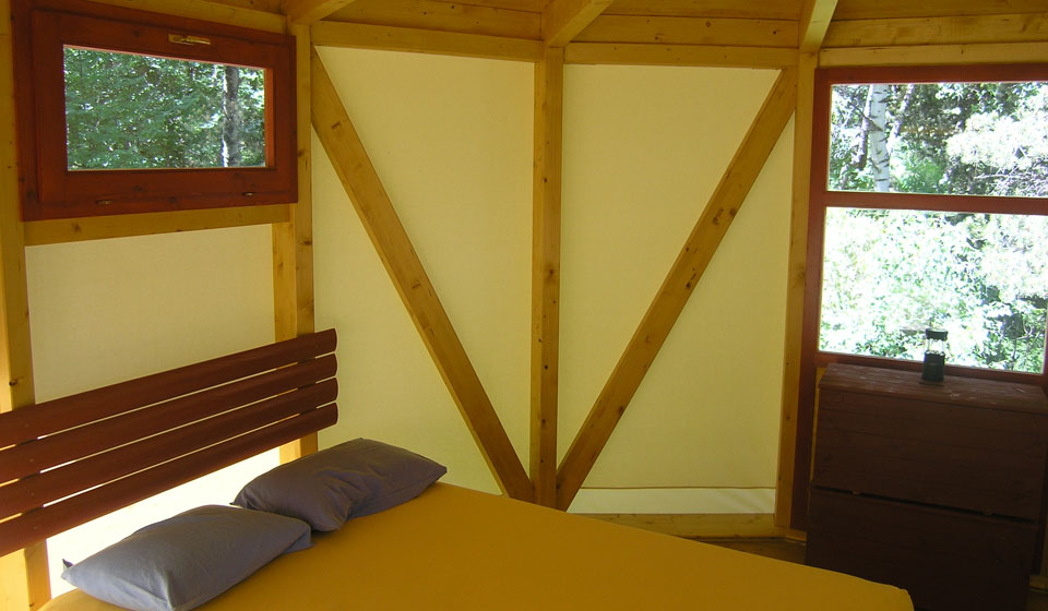 interior with double bed and windows