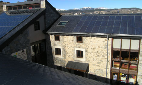 solar panels on the Orri de Planès' roof
