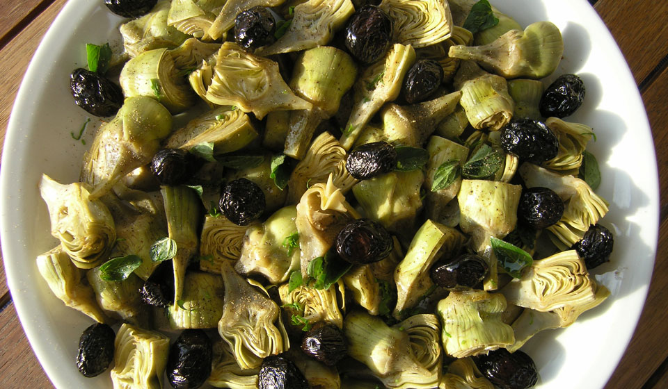 artichoke hearts with black olives